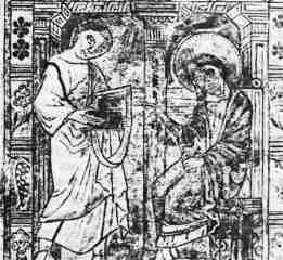 "Marcion (left),with the Apostle John, to whom he ""brought scriptures from the Pontic brethren..."" (10th century miniature from the archives of the Cathedral St.Bravo in Ghent)."
